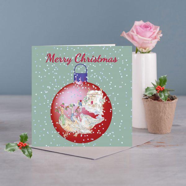 Christmas Bauble Geese Card